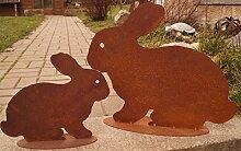 Edelrost Hase Mümmel auf Platte 2 Größen Ostern