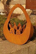 Edelrost Hasenkörbchen zum Befüllen Dekoration Ostern Metall