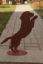 Edelrost Hund Benny springend auf Platte Gartendeko Haustiere Metall H50cm