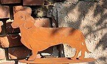 Edelrost Hund/Dackel Waldi, Tierfigur aus rostigen