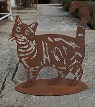 Edelrost Katze getigert 35 cm auf Bodenplatte