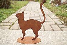 Edelrost Katze Missy 29x21cm auf Bodenplatte