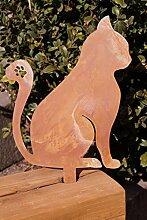 Edelrost Katze zum Stecken groß 21 x 16 cm cm Kurzstecker Tierfigur Gartendeko
