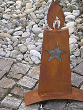 Edelrost Kerze mit Edelstahl Stern, 54 cm
