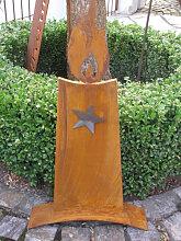Edelrost Kerze mit Edelstahl Stern, 73 cm