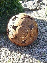 EDELROST - Kugel Schneckenkugel Dekokugel Windlicht 28 cm Garten Eisen Ros