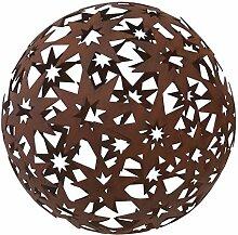 Edelrost Kugel Sterne groß D24cm Gartendeko