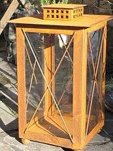 Edelrost Laterne mit Glas, 45 cm