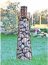 Edelrost-Leuchtturm Föhr - Gabione - Steinkorb- Steindeko - Teichdeko - Gartendeko