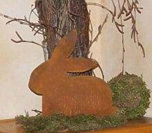 Edelrost Metall Hase sitzend, Osterdekoration für Haus und Garten, rostige Blechfiguren in Rost Look
