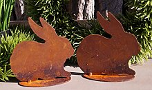 Edelrost Mini Hasen im Set 10cm Gartendekoration Ostern Tierfiguren