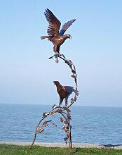 Edelrost oder Edelstahl Skulptur Adlerpaar