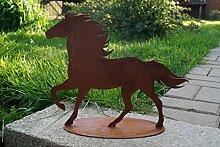 Edelrost Pferd laufend auf Platte Garten Mustang Hengst Metall Dekoration Rost Tierfigur