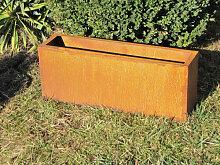 Edelrost Pflanzkübel rechteckig breit 80cm