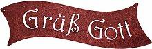 Edelrost Schild - Grüß Gott - 40 cm
