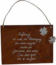 Edelrost Schild Spruch Hoffnung 34cm x 25cm