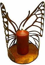 Edelrost Schmetterling Windlicht groß mit Ausschnitten, halbrund gebogen mit Platte 24 cm hoch Ø 18 cm