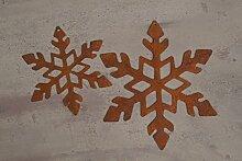 Edelrost Set Eisflocken zum Hängen Weihnachten