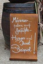 Edelrost Tafel Männer gewellt Spruch Geschenk Schild Garten Wanddeko Handarbei