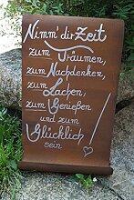 Edelrost Tafel mit Welle Nimm dir Zeit...Gartendekoration Schild Metall