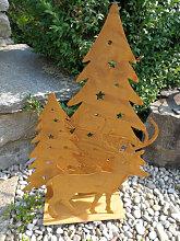Edelrost Teelichthalter Baum mit Rentier