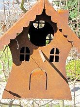 Edelrost Vogelhaus auf Stab
