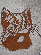 Edelrost Wandbild Katzenkopf
