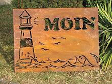 Edelrost Wandbild Moin mit Leuchtturm