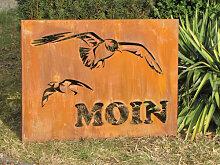 Edelrost Wandbild Moin mit zwei Möwen