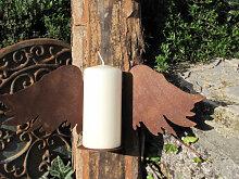 Edelrost Wandhalter Flügel für Kerze