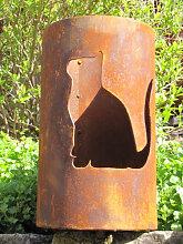 Edelrost Windlicht Katze, massiv