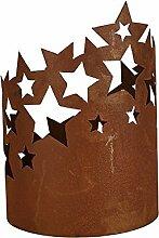 Edelrost Windlicht Sterne 20cm x 27cm