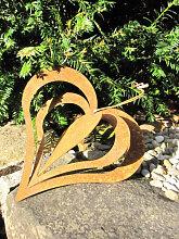 Edelrost Windspiel Herz zum Drehen, 22 cm