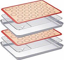 Edelstahl-Backblech-Set mit Kühlrost Backblechen
