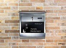 Edelstahl Briefkasten mit Namensschild + Gravur