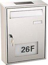 Edelstahl-Briefkasten mit Solar-Leucht-Hausnummer