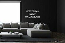 "Edelstahl Design Schriftzug Wandschild ""yesterday, now, tomorrow"""