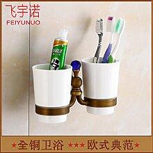 Edelstahl DOPPEL ZAHNBÜRSTENHALTER (Wandmontage) Badezimmer Zahnbürstenhalter Keramik oder Glas Zahnbürste Becher