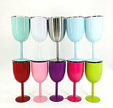 Edelstahl doppelwandig Wein Glas mit Deckel viole