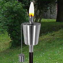 Edelstahl Gartenfackel H110cm mit Holzstab Öllampe Gartenlampe Windlicht Ölfackel