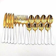 Edelstahl Geschirr Tischbesteck Set Weißgold