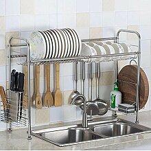 Edelstahl-Geschirrkorb über dem Waschbecken