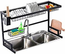 Edelstahl-Geschirrtrockner über dem Waschbecken