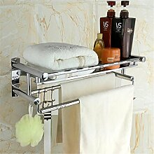 Edelstahl Handtuchhalter Doppelte Schicht Hotel Badezimmer Handtuchhalter Badezimmer Regal Badezimmer Hardware Anhänger Handtuch bar , b paragraph thickening shelf