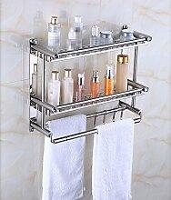 Edelstahl Handtuchhalter Toilette Edelstahl Regal Badezimmer Toilette Badezimmer Hardware Wand Anhänger, Doppel, 60CM, Bohren