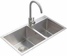 Edelstahl Handwaschbecken Doppel Schüssel 60/40