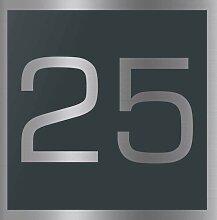 Edelstahl Hausnummer 250x250 mm pulverbeschichtet