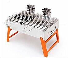 Edelstahl-Holzkohle Grill Hause falten tragbaren Grillgerät , 42*30*25cm orange