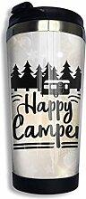 Edelstahl Kaffeetasse Bäume Happy Camper