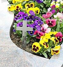 Edelstahl Kreuz Grabkreuz als Grabschmuck Grabgesteck Grabdekoration (Linien-Design) - Thorwa® (20cm, Silber mit Erdspieß)